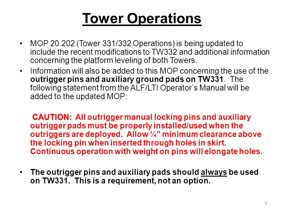 Tower Operations MOP 20.202 (Tower 331/332 Operations) is being updated to include the recent modifications to TW332 and additional information concerning the platform leveling of both Towers.