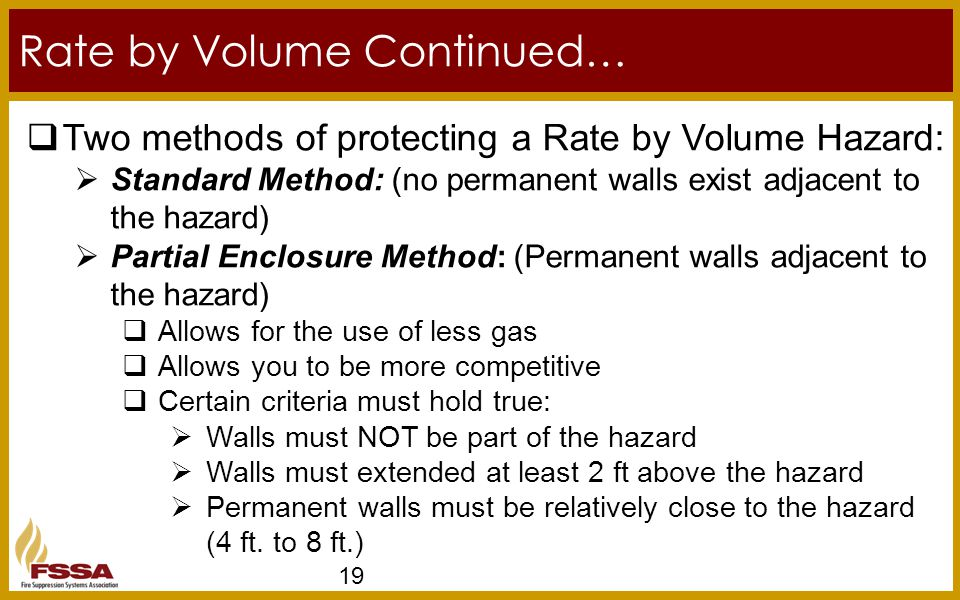 Rate by Volume Continued… 19  Two methods of protecting a Rate by Volume Hazard:  Standard Method: (no permanent walls exist adjacent to the hazard)