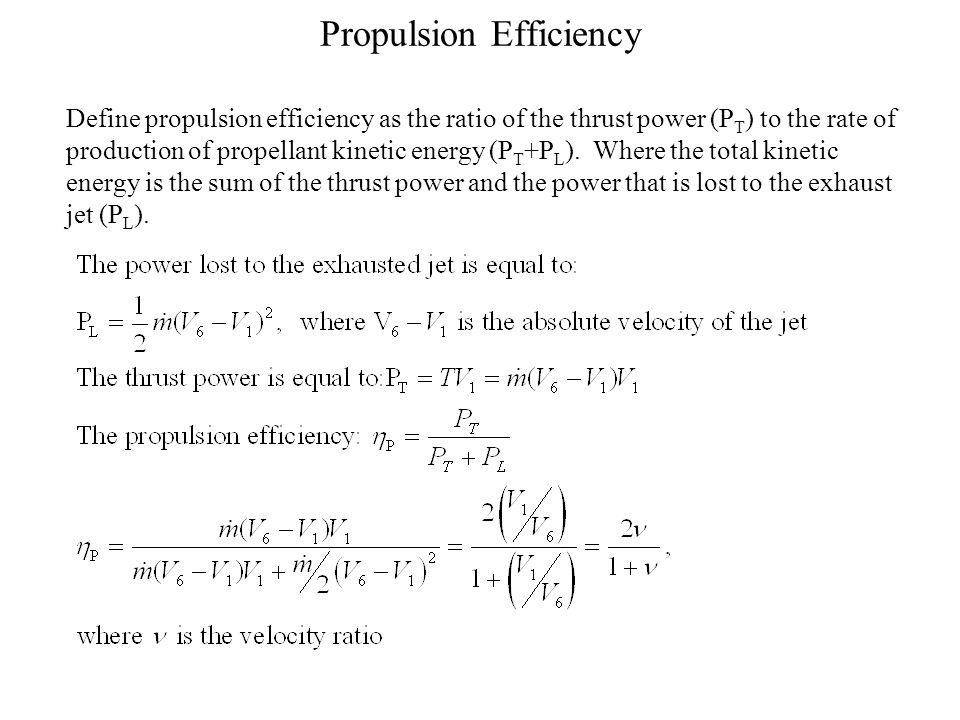 Propulsion Efficiency & Turbofan The propulsion efficiency increases as the velocity ratio is increased.