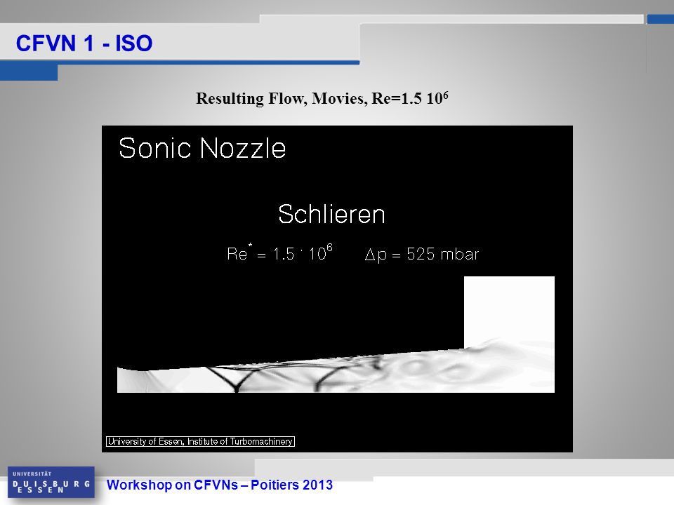 Workshop on CFVNs – Poitiers 2013 CFVN 1 - ISO Resulting Flow, Movies, Re=1.5 10 6