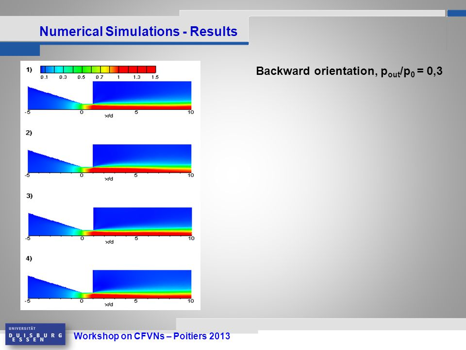 Workshop on CFVNs – Poitiers 2013 Numerical Simulations - Results Backward orientation, p out /p 0 = 0,3