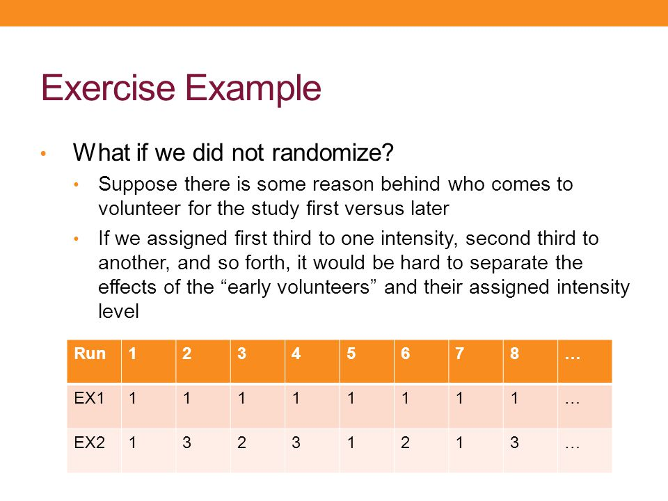 Exercise Example What if we did not randomize? Suppose there is some reason behind who comes to volunteer for the study first versus later If we assig