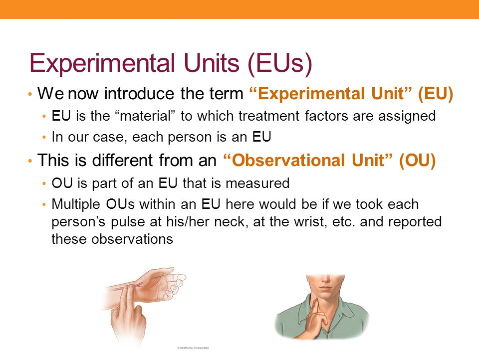 """Experimental Units (EUs) We now introduce the term """"Experimental Unit"""" (EU) EU is the """"material"""" to which treatment factors are assigned In our case,"""
