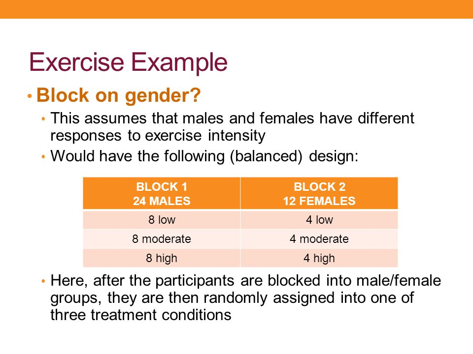Exercise Example Block on gender? This assumes that males and females have different responses to exercise intensity Would have the following (balance