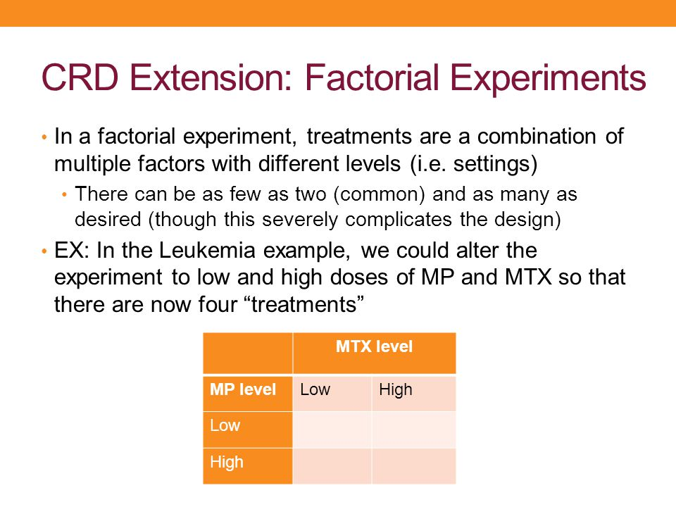 CRD Extension: Factorial Experiments In a factorial experiment, treatments are a combination of multiple factors with different levels (i.e. settings)