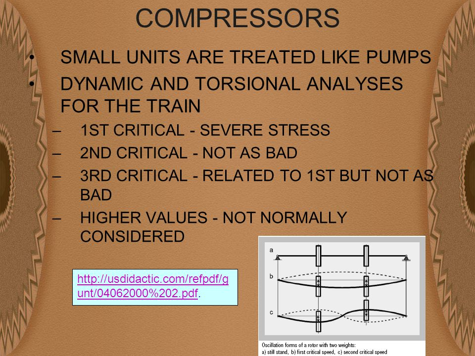 COMPRESSORS SMALL UNITS ARE TREATED LIKE PUMPS DYNAMIC AND TORSIONAL ANALYSES FOR THE TRAIN –1ST CRITICAL - SEVERE STRESS –2ND CRITICAL - NOT AS BAD –3RD CRITICAL - RELATED TO 1ST BUT NOT AS BAD –HIGHER VALUES - NOT NORMALLY CONSIDERED http://usdidactic.com/refpdf/g unt/04062000%202.pdfhttp://usdidactic.com/refpdf/g unt/04062000%202.pdf.