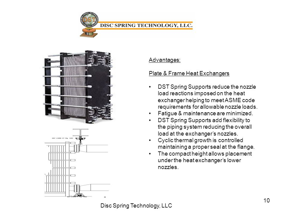 10 Disc Spring Technology, LLC Advantages: Plate & Frame Heat Exchangers DST Spring Supports reduce the nozzle load reactions imposed on the heat exch