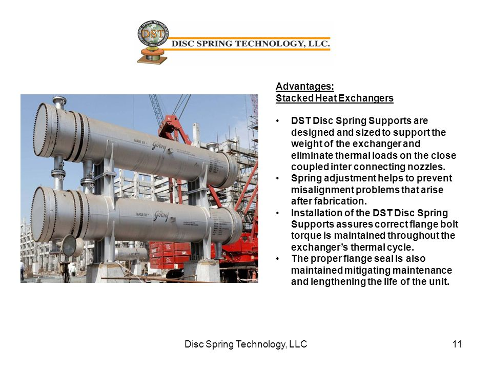 Advantages: Stacked Heat Exchangers DST Disc Spring Supports are designed and sized to support the weight of the exchanger and eliminate thermal loads