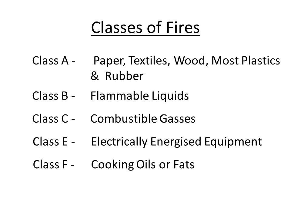 Classes of Fires Class A - Paper, Textiles, Wood, Most Plastics & Rubber Class B -Flammable Liquids Class C -Combustible Gasses Class E -Electrically