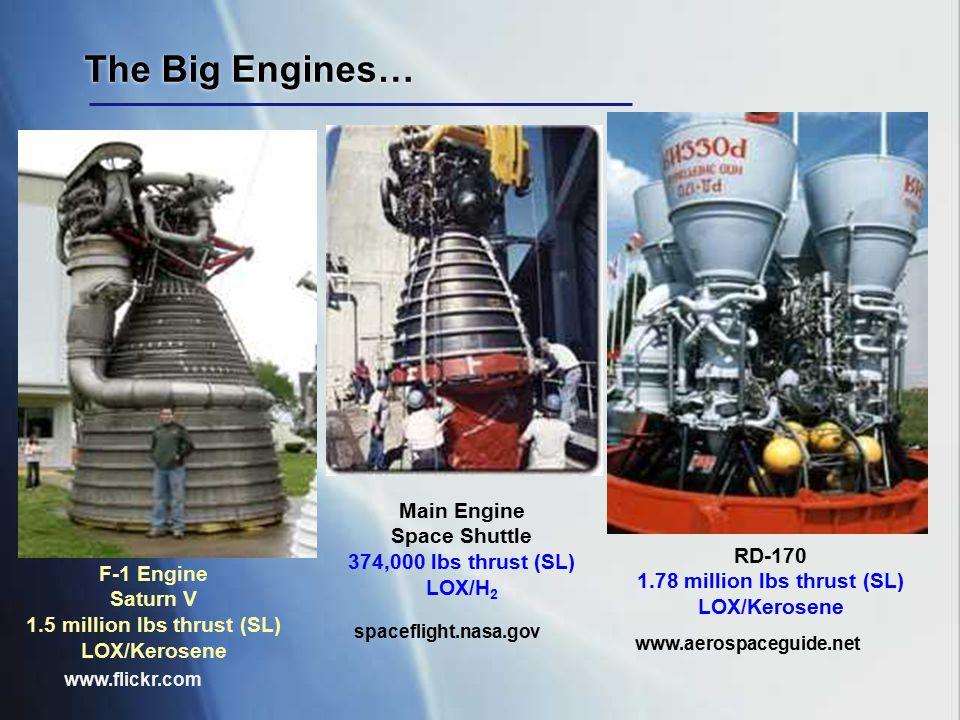 The Big Engines… F-1 Engine Saturn V 1.5 million lbs thrust (SL) LOX/Kerosene www.flickr.com Main Engine Space Shuttle 374,000 lbs thrust (SL) LOX/H 2