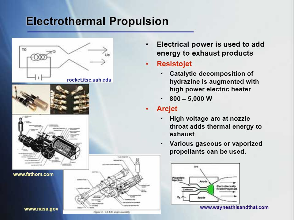 Electrothermal Propulsion Electrical power is used to add energy to exhaust products Resistojet Catalytic decomposition of hydrazine is augmented with