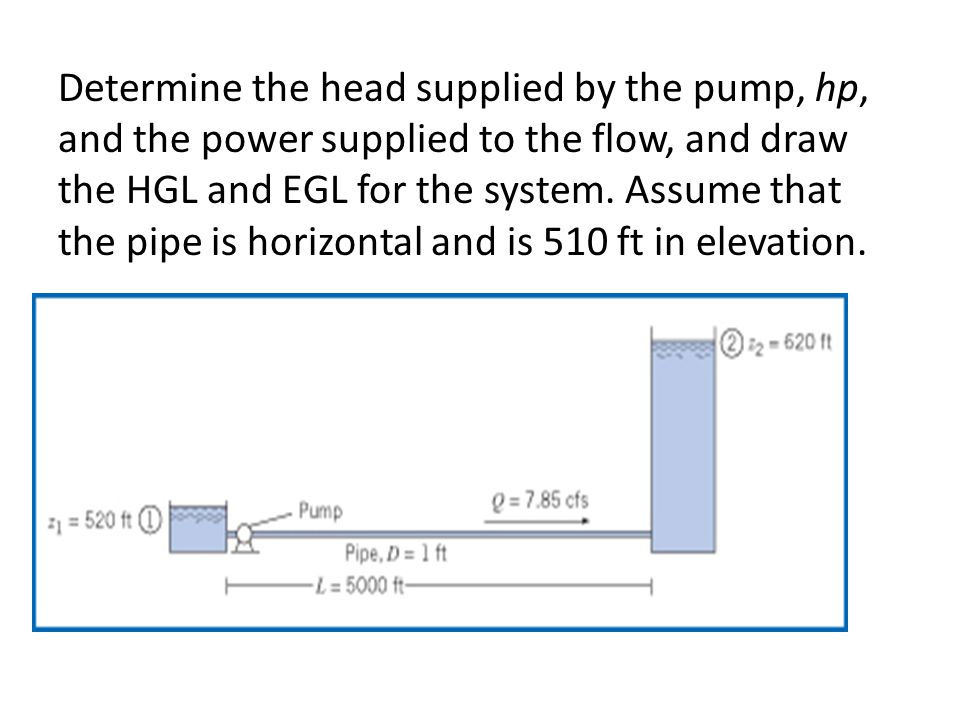 Determine the head supplied by the pump, hp, and the power supplied to the flow, and draw the HGL and EGL for the system. Assume that the pipe is hori