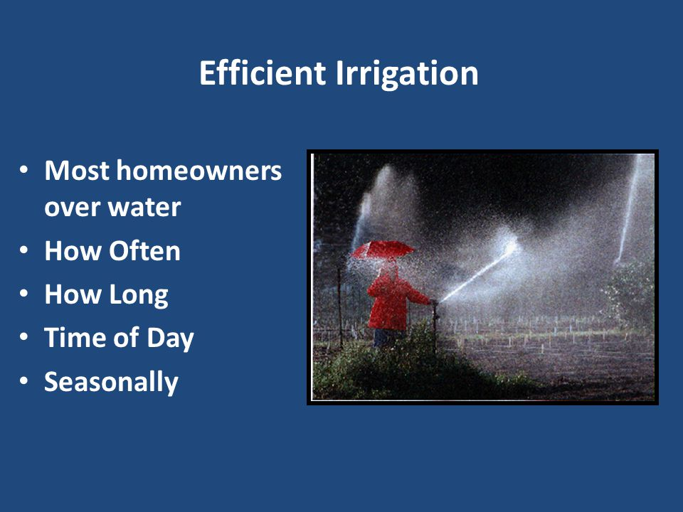 Irrigation Evaluation ▪ Site Inspection with Homeowner Run each Zone/Station Flag each sprinkler Identify Problems Catch Can Test Irrigation Scheduling – Time and Date – Days of Week – Start Time – Runtime per zone