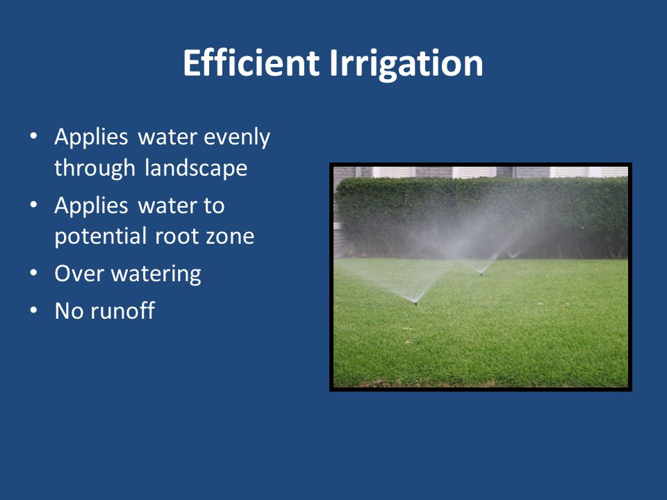 Efficient Irrigation Applies water evenly through landscape Applies water to potential root zone Over watering No runoff