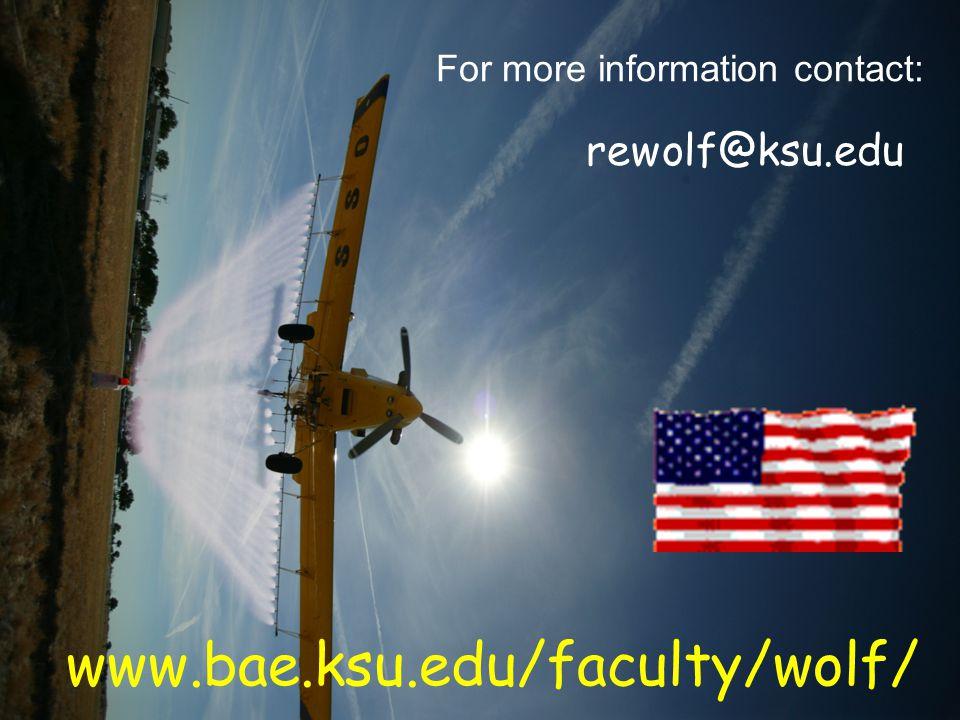 www.bae.ksu.edu/faculty/wolf/ For more information contact: rewolf@ksu.edu