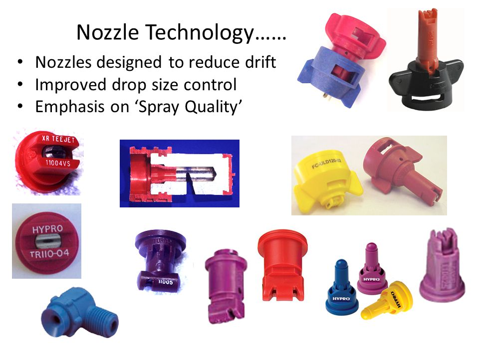 Nozzle Technology…… Nozzles designed to reduce drift Improved drop size control Emphasis on 'Spray Quality'