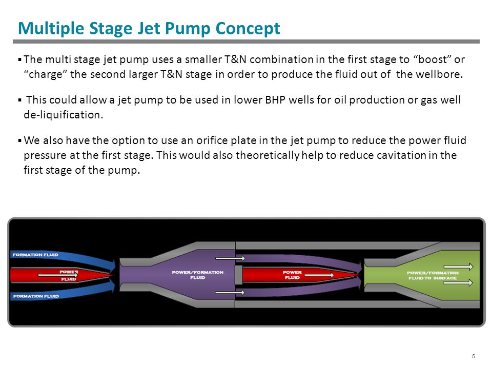 6 Multiple Stage Jet Pump Concept  The multi stage jet pump uses a smaller T&N combination in the first stage to boost or charge the second larger T&N stage in order to produce the fluid out of the wellbore.