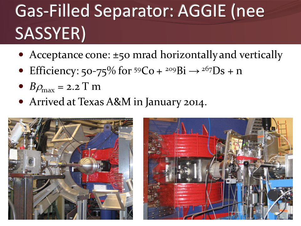 Acceptance cone: ±50 mrad horizontally and vertically Efficiency: 50-75% for 59 Co + 209 Bi → 267 Ds + n B  max = 2.2 T m Arrived at Texas A&M in Jan