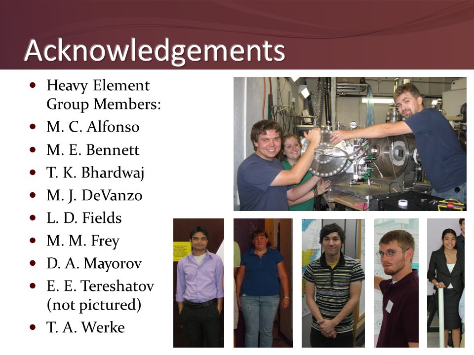 Heavy Element Group Members: M. C. Alfonso M. E. Bennett T. K. Bhardwaj M. J. DeVanzo L. D. Fields M. M. Frey D. A. Mayorov E. E. Tereshatov (not pict