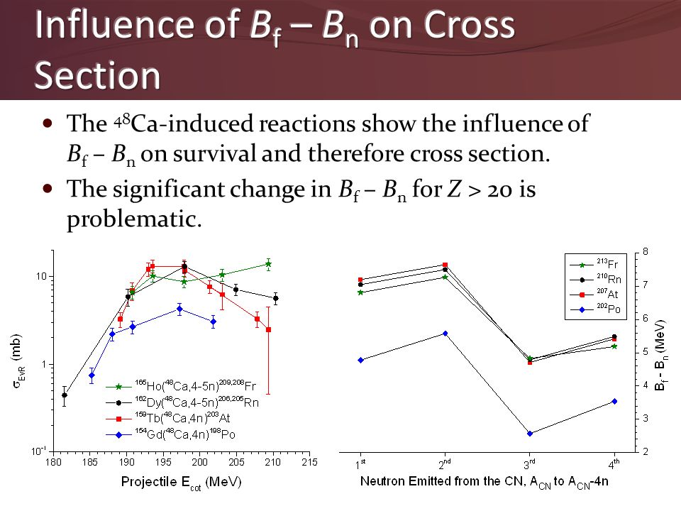 The 48 Ca-induced reactions show the influence of B f – B n on survival and therefore cross section. The significant change in B f – B n for Z > 20 is