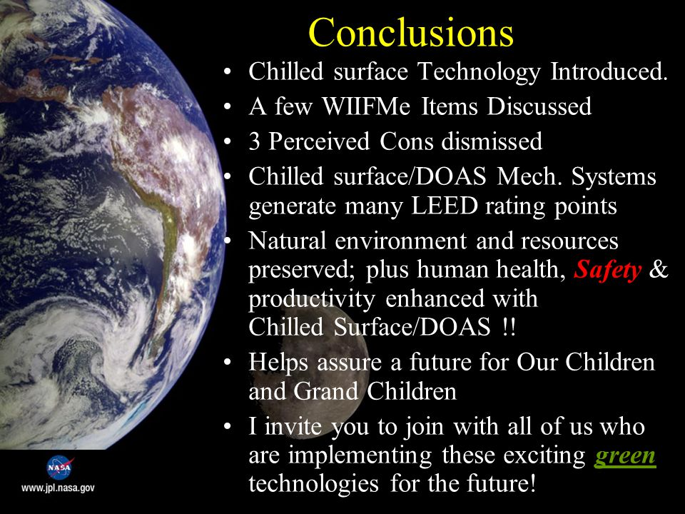 Conclusions Chilled surface Technology Introduced.