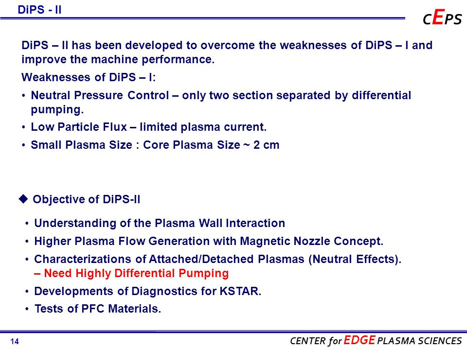 14 CENTER for EDGE PLASMA SCIENCES C E PS  Objective of DiPS-II Understanding of the Plasma Wall Interaction Higher Plasma Flow Generation with Magnetic Nozzle Concept.
