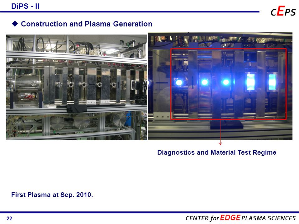 22 CENTER for EDGE PLASMA SCIENCES C E PS Diagnostics and Material Test Regime First Plasma at Sep.