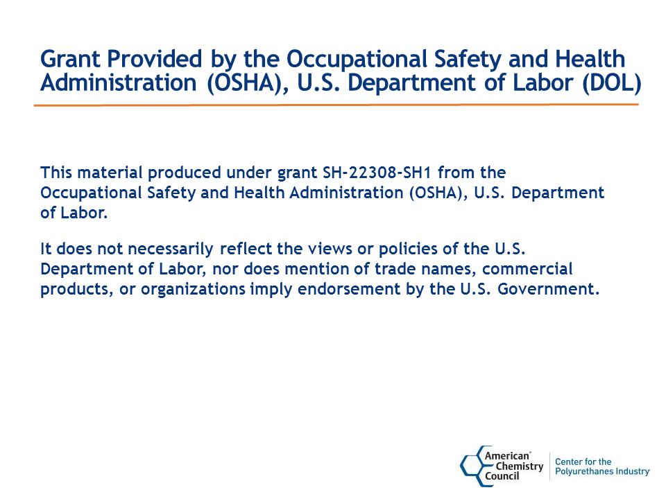 Grant Provided by the Occupational Safety and Health Administration (OSHA), U.S.
