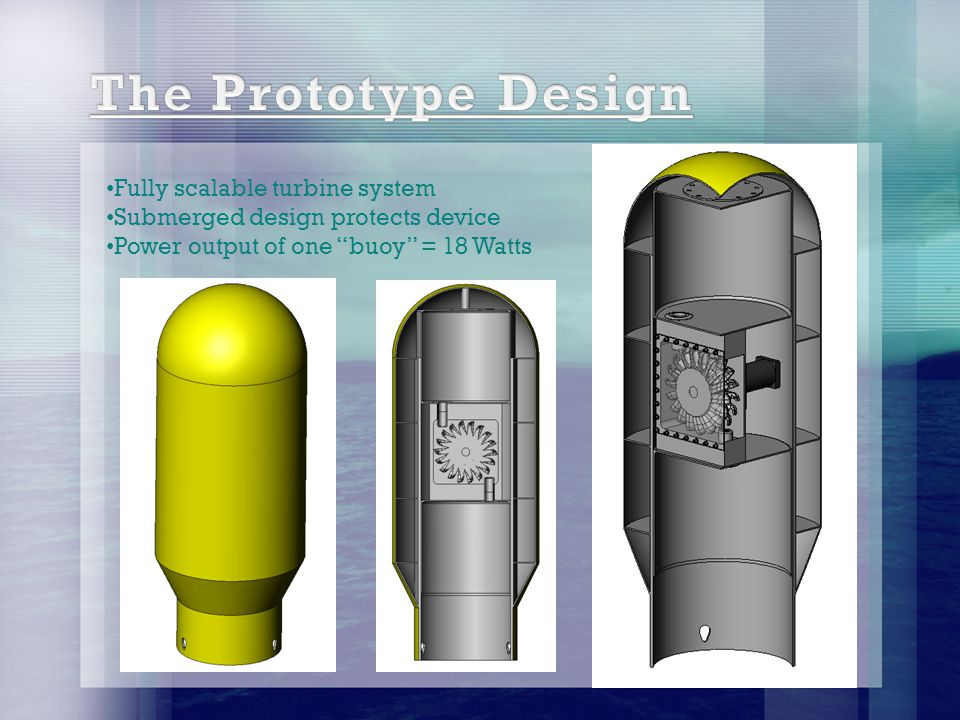 Fully scalable turbine system Submerged design protects device Power output of one buoy = 18 Watts