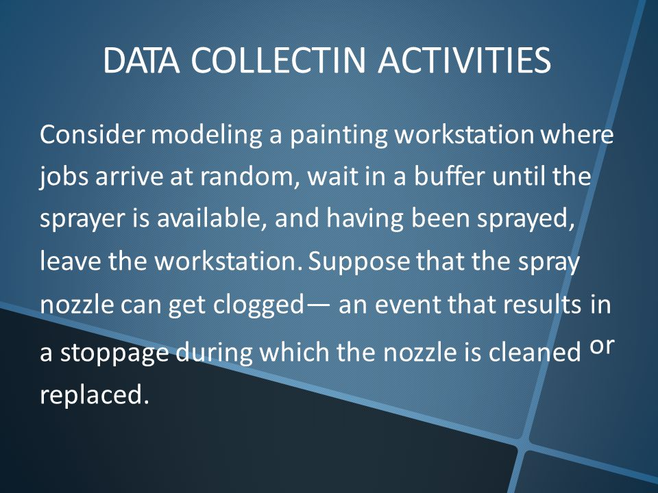 DATA COLLECTIN ACTIVITIES Consider modeling a painting workstation where jobs arrive at random, wait in a buffer until the sprayer is available, and having been sprayed, leave the workstation.
