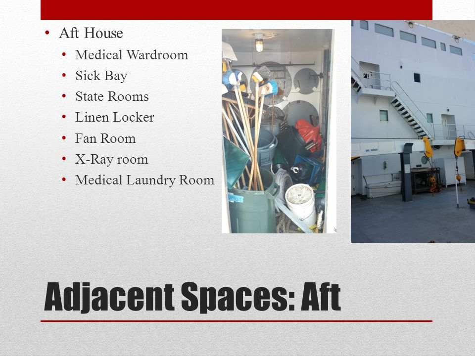 Adjacent Spaces: Aft Aft House Medical Wardroom Sick Bay State Rooms Linen Locker Fan Room X-Ray room Medical Laundry Room