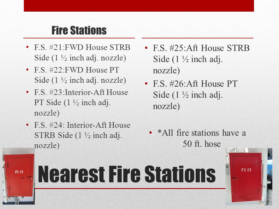 Nearest Fire Stations Fire Stations F.S. #21:FWD House STRB Side (1 ½ inch adj.