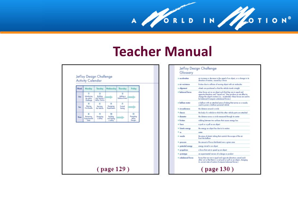 Teacher Manual ( page 129 )( page 130 )