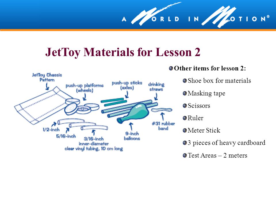 JetToy Materials for Lesson 2 Other items for lesson 2: Shoe box for materials Masking tape Scissors Ruler Meter Stick 3 pieces of heavy cardboard Tes