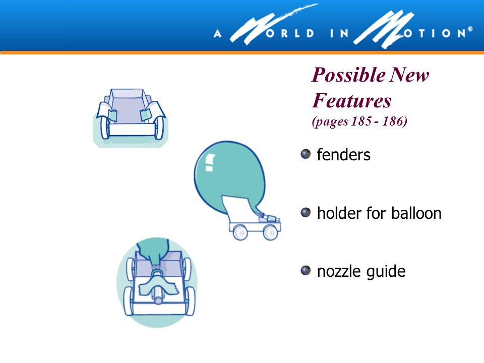 Possible New Features (pages 185 - 186) fenders holder for balloon nozzle guide
