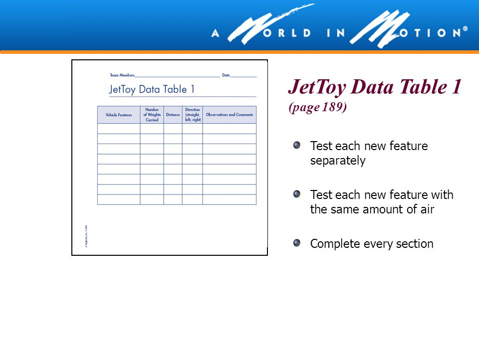 Test each new feature separately Test each new feature with the same amount of air Complete every section JetToy Data Table 1 (page 189)