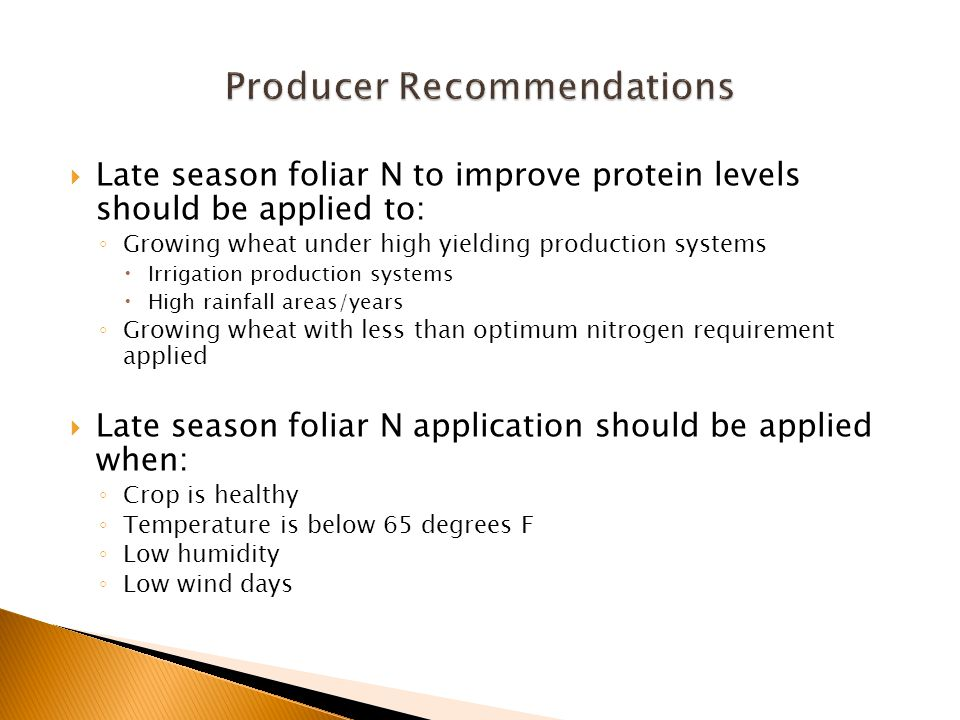  Late season foliar N to improve protein levels should be applied to: ◦ Growing wheat under high yielding production systems  Irrigation production systems  High rainfall areas/years ◦ Growing wheat with less than optimum nitrogen requirement applied  Late season foliar N application should be applied when: ◦ Crop is healthy ◦ Temperature is below 65 degrees F ◦ Low humidity ◦ Low wind days