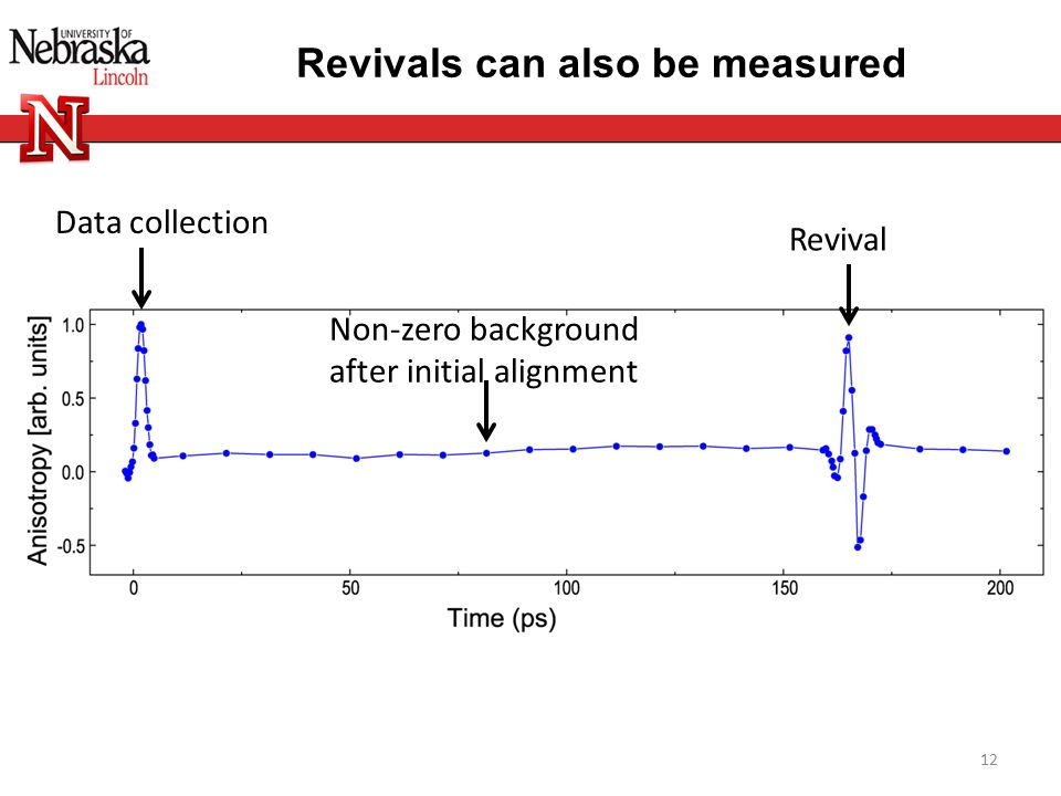 Revivals can also be measured 12 Data collection Revival Non-zero background after initial alignment