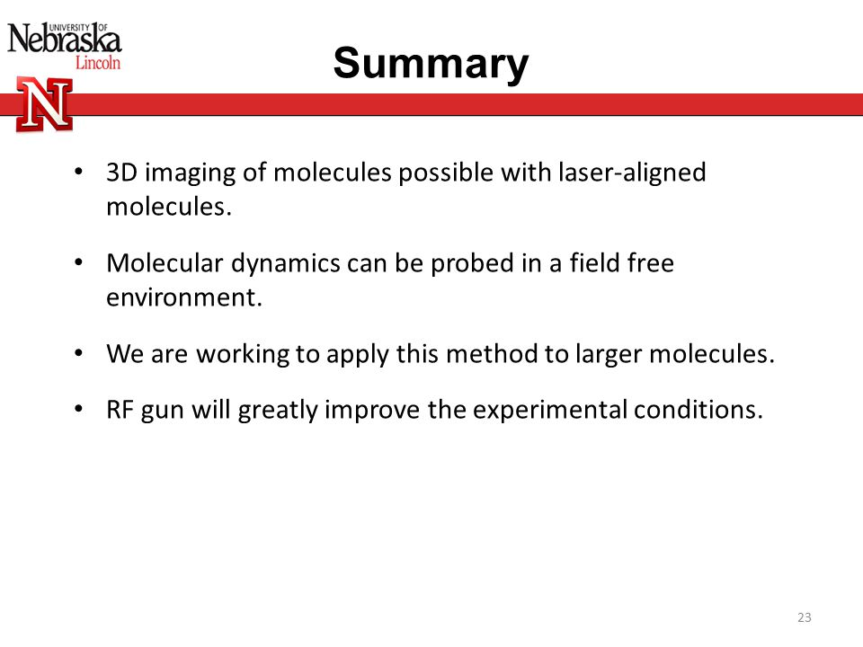 Summary 3D imaging of molecules possible with laser-aligned molecules.