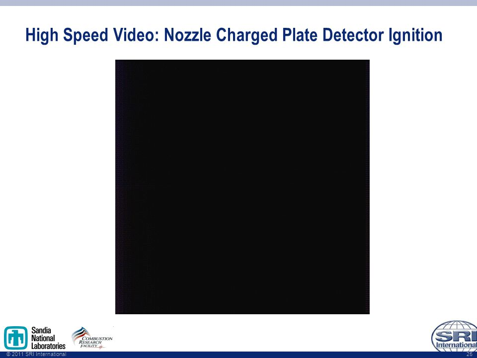 © 2011 SRI International High Speed Video: Nozzle Charged Plate Detector Ignition 25