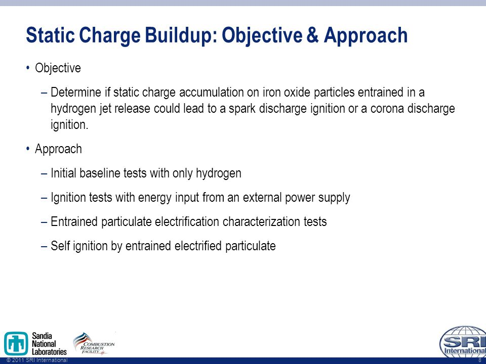 © 2011 SRI International Static Charge Buildup: Objective & Approach Objective –Determine if static charge accumulation on iron oxide particles entrained in a hydrogen jet release could lead to a spark discharge ignition or a corona discharge ignition.