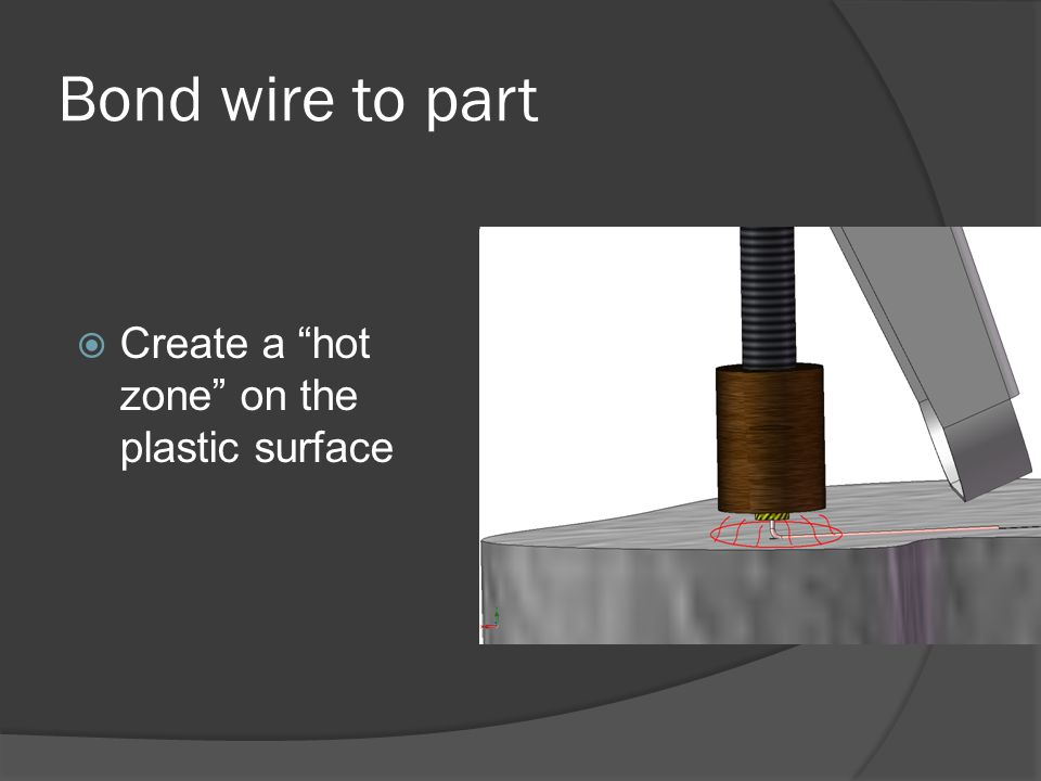 Bond wire to part  Create a hot zone on the plastic surface