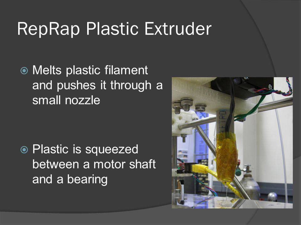 RepRap Plastic Extruder  Melts plastic filament and pushes it through a small nozzle  Plastic is squeezed between a motor shaft and a bearing