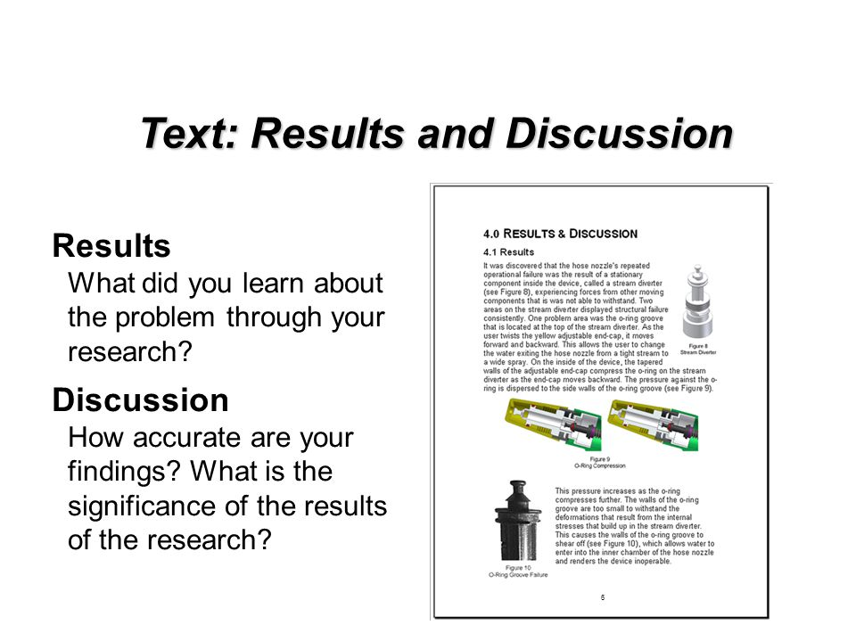 Text: Results and Discussion Results What did you learn about the problem through your research? Discussion How accurate are your findings? What is th