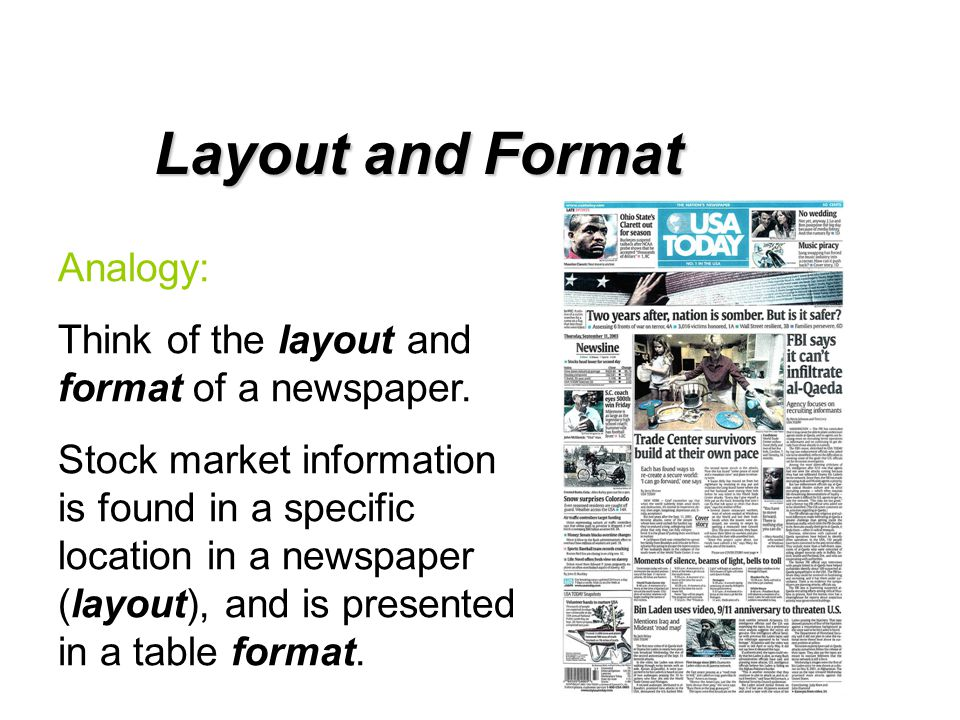 Layout and Format Analogy: Think of the layout and format of a newspaper. Stock market information is found in a specific location in a newspaper (lay