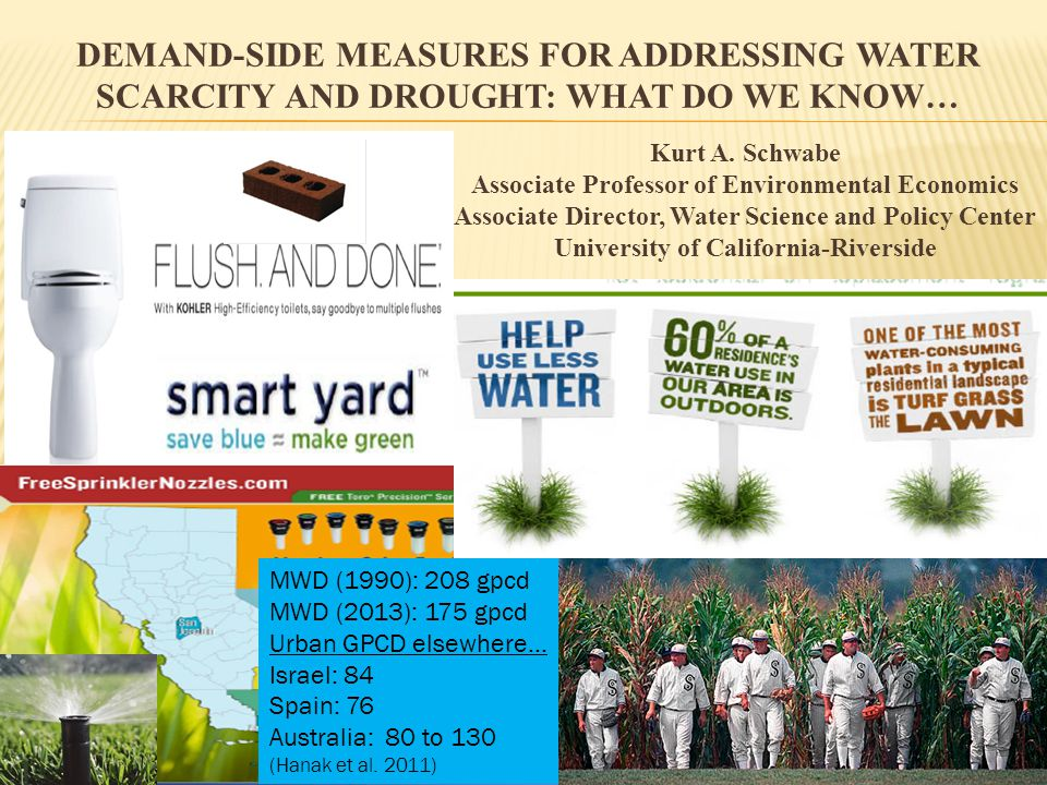 DEMAND-SIDE MEASURES FOR ADDRESSING WATER SCARCITY AND DROUGHT: WHAT DO WE KNOW… Kurt A.
