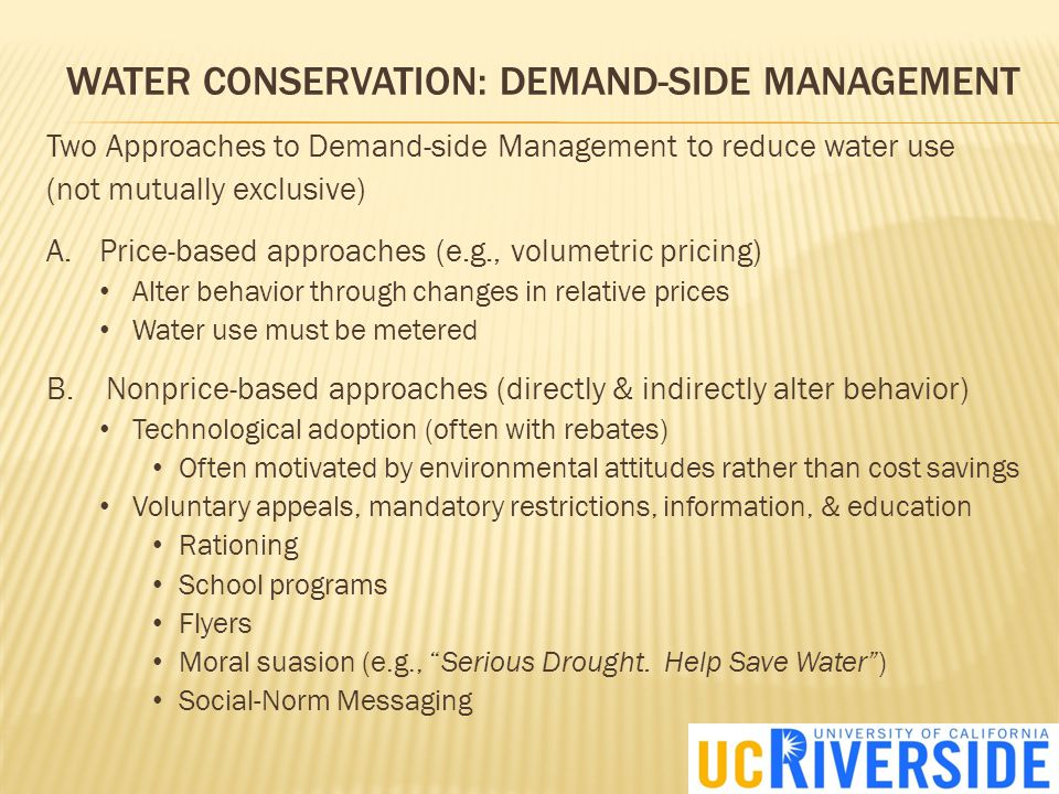 WATER CONSERVATION: PRICES VS.
