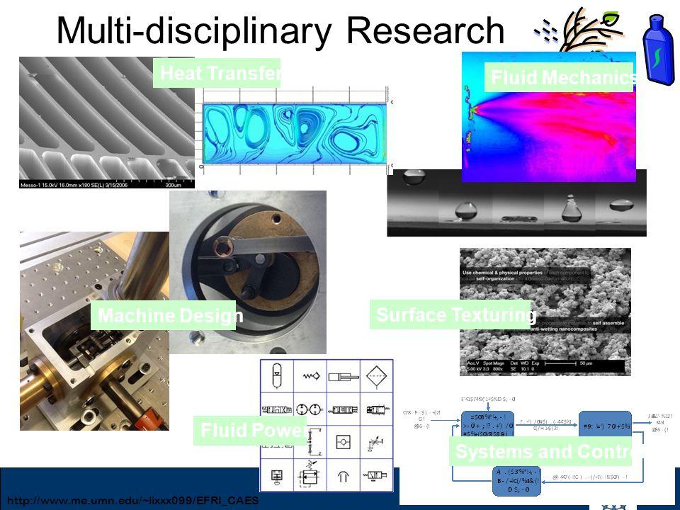 15 Multi-disciplinary Research Heat Transfer Fluid Mechanics Machine Design Surface Texturing Systems and Control Fluid Power http://www.me.umn.edu/~l