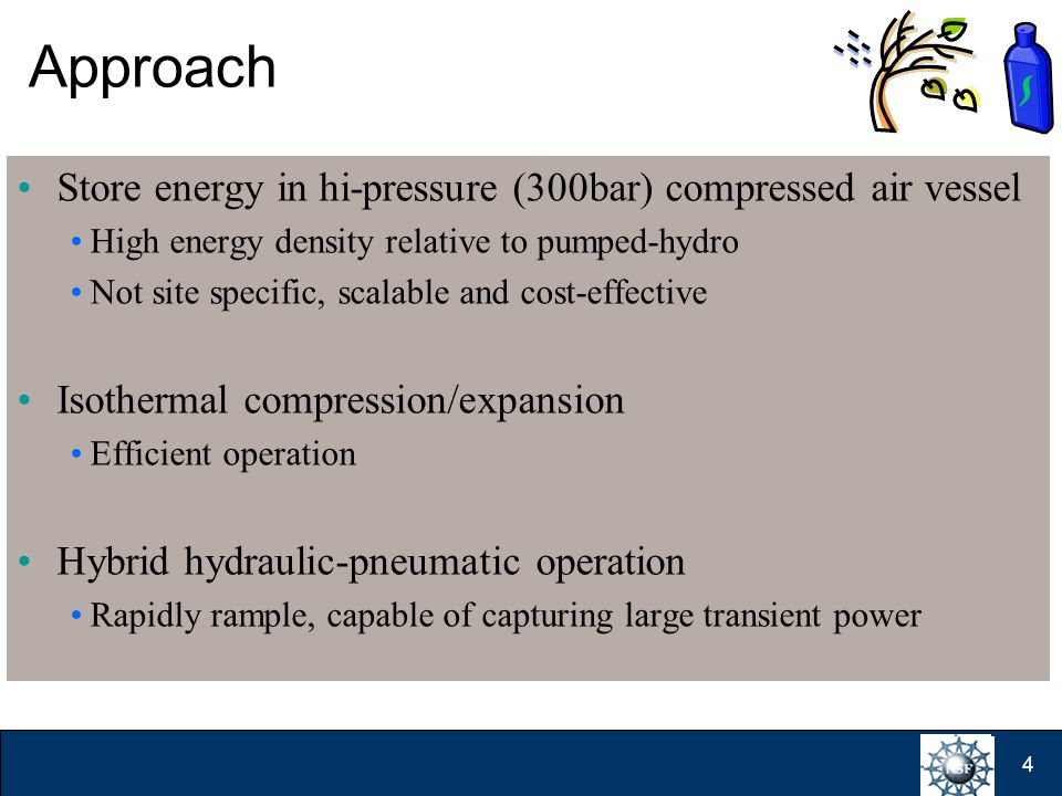 4 Approach Store energy in hi-pressure (300bar) compressed air vessel High energy density relative to pumped-hydro Not site specific, scalable and cost-effective Isothermal compression/expansion Efficient operation Hybrid hydraulic-pneumatic operation Rapidly rample, capable of capturing large transient power