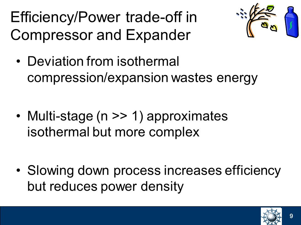 9 Efficiency/Power trade-off in Compressor and Expander Deviation from isothermal compression/expansion wastes energy Multi-stage (n >> 1) approximates isothermal but more complex Slowing down process increases efficiency but reduces power density
